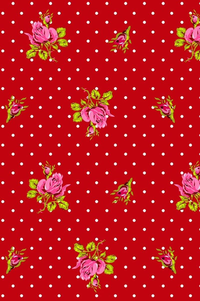 Color Relation Product Roses and Dots wallpaper red - Rood