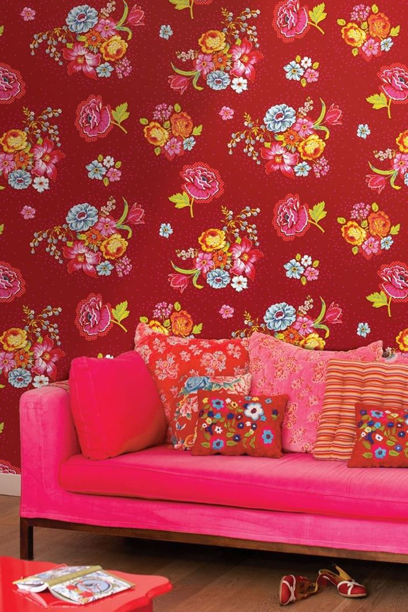 Color Relation Product Bunch of Flowers wallpaper red - Rood
