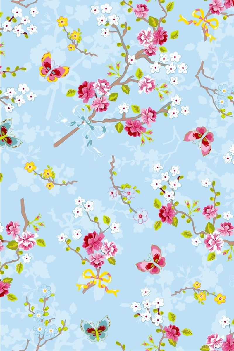 Color Relation Product Chinese Rose wallpaper blue - Blauw