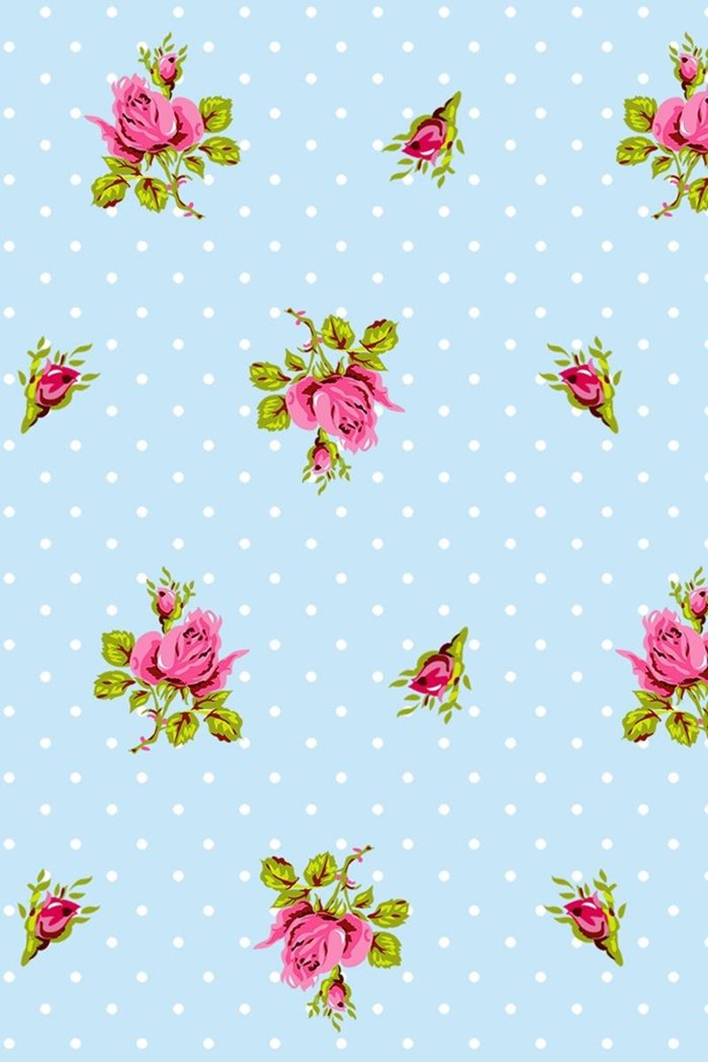 Color Relation Product Roses and Dots wallpaper blue - Blauw