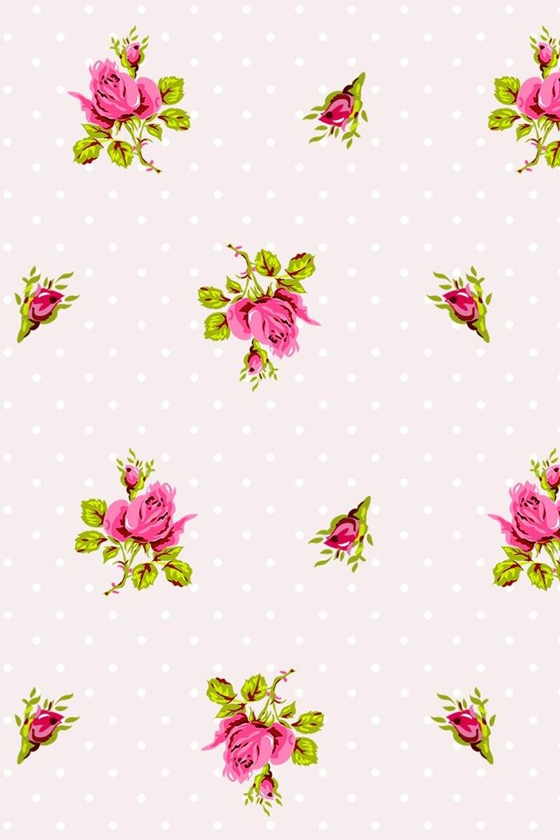 Color Relation Product Roses and Dots wallpaper white - Wit