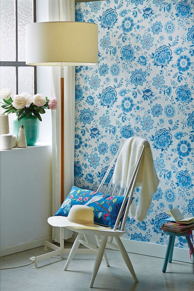 Color Relation Product Pip Studio Folklore Chintz Wallpaper Light Blue