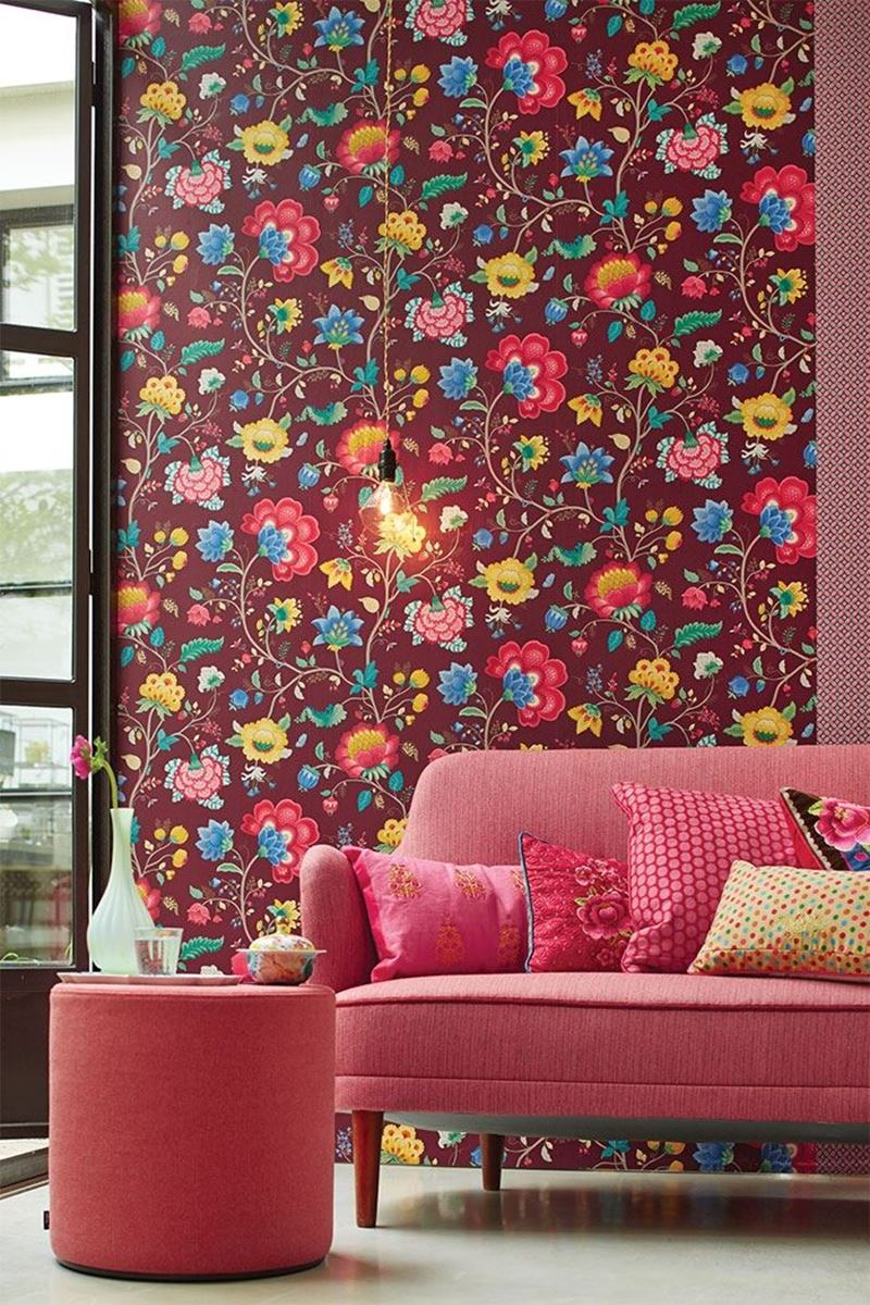 Color Relation Product Pip Studio Floral Fantasy Behang Burgundy