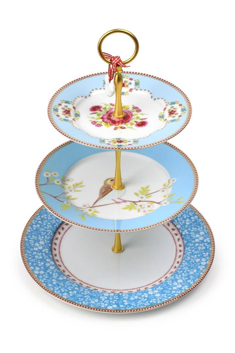Color Relation Product Floral Cake Stand 3 Levels Blue