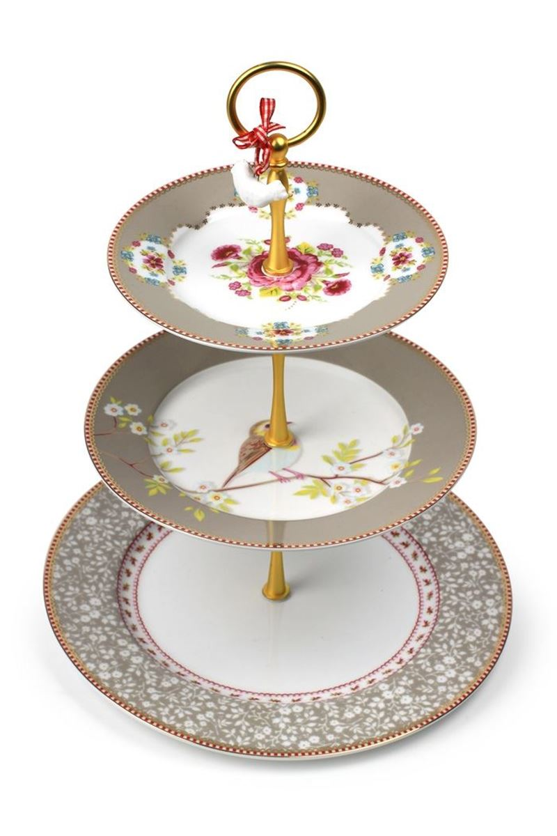 Color Relation Product Floral Cake Stand 3 Levels Khaki
