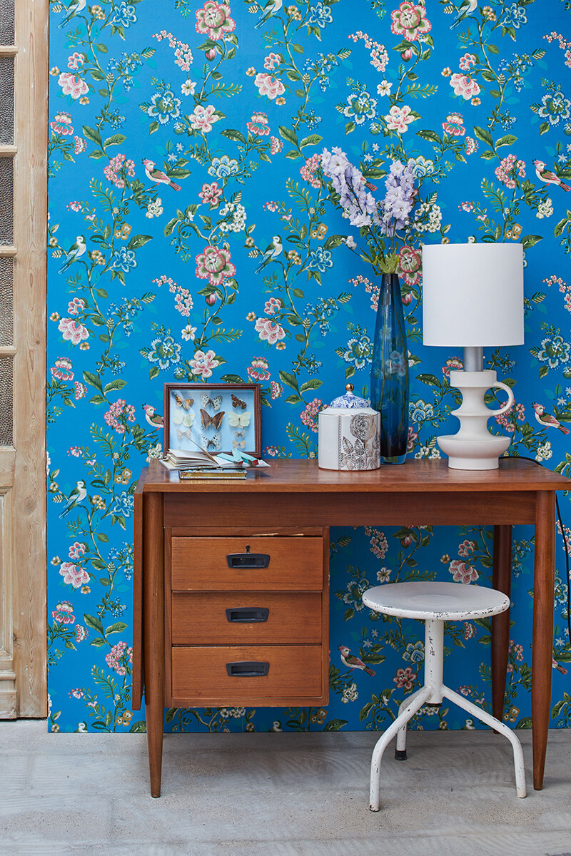 Color Relation Product Pip Studio Botanical Print Wallpaper Bright Blue