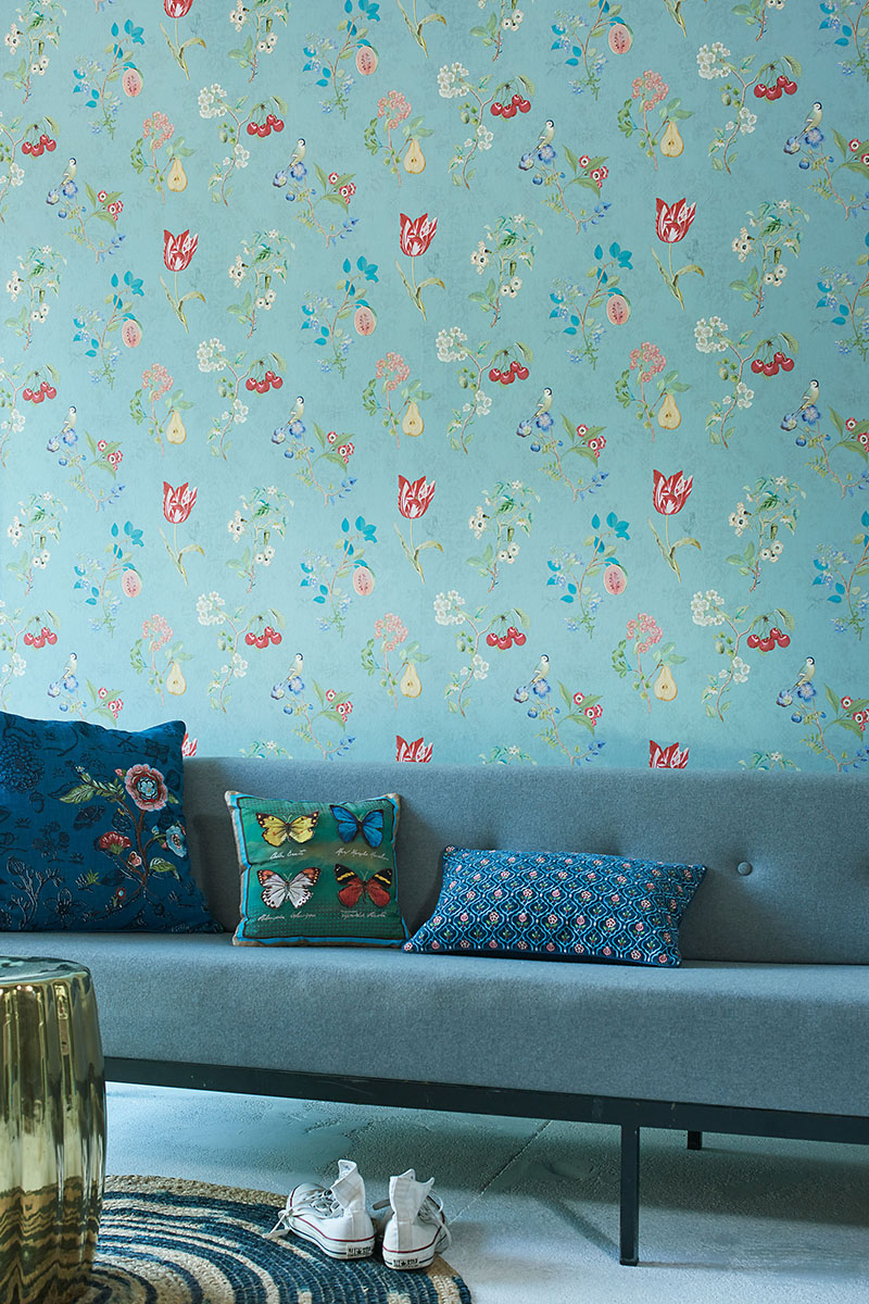 Color Relation Product Pip Studio Cherry Pip Wallpaper Turquoise