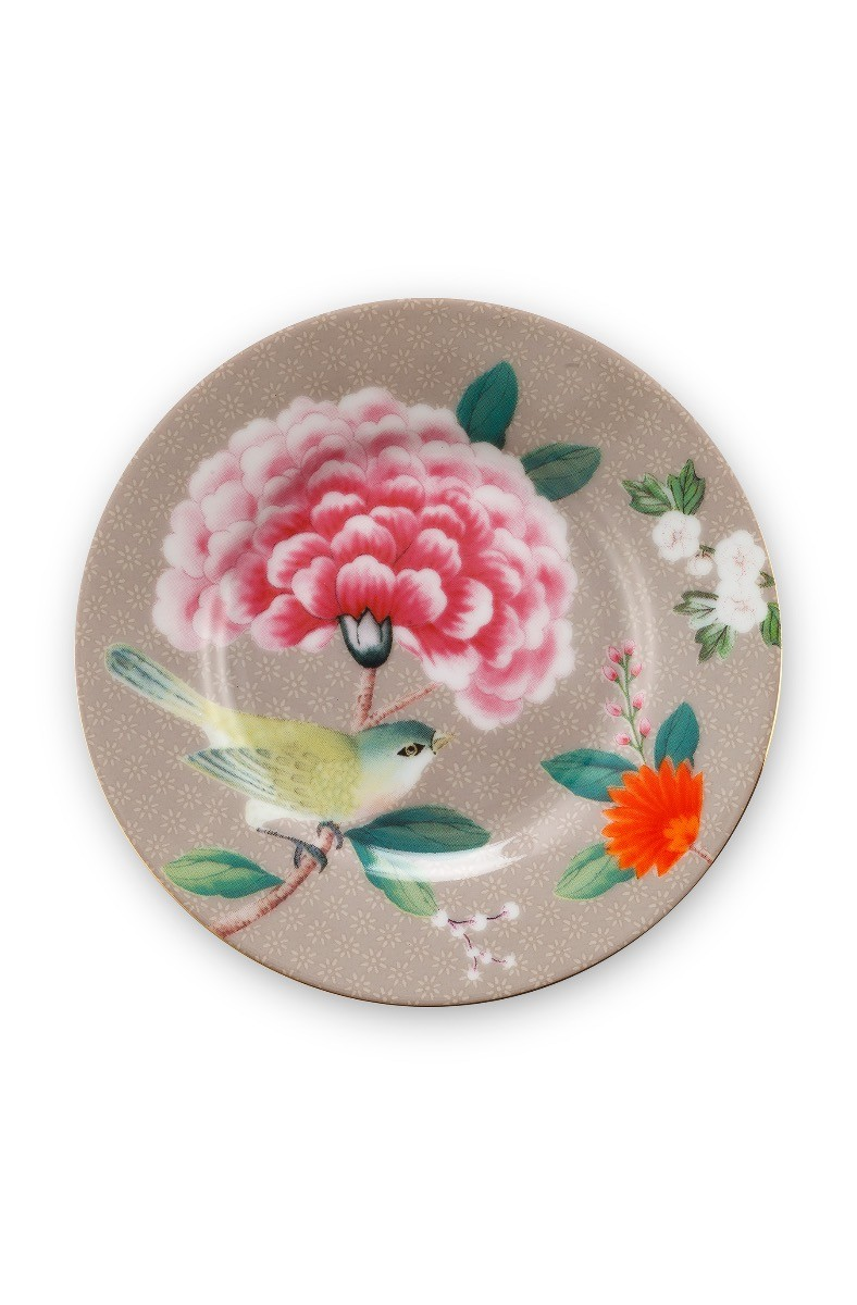 Color Relation Product Blushing Birds Petit Four Plate Khaki 12 cm