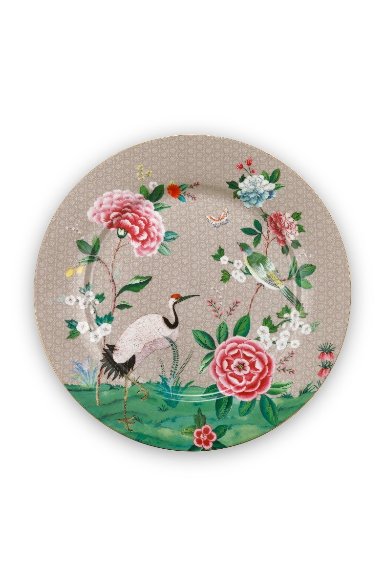 Color Relation Product Blushing Birds Underplate Khaki 32 cm