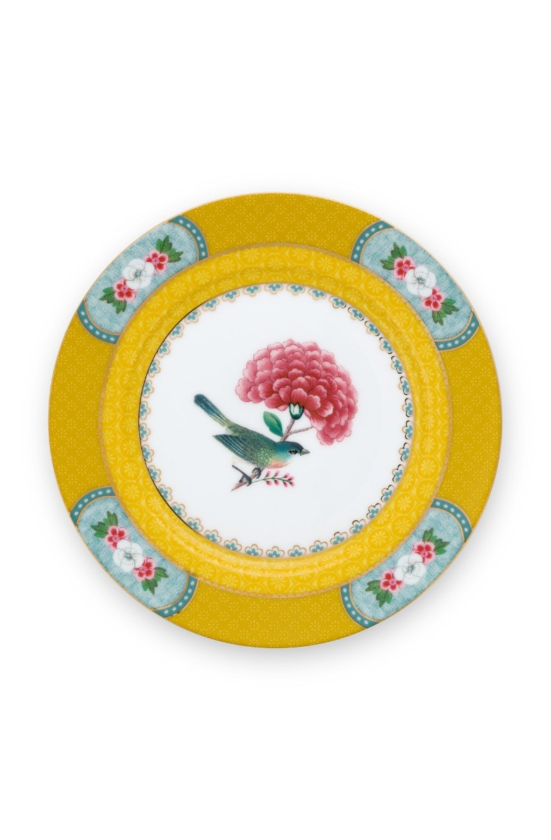 Color Relation Product Blushing Birds Plate Pastry Yellow 17 cm