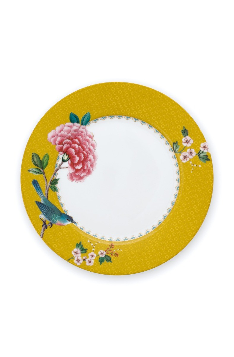 Color Relation Product Blushing Birds Breakfast Plate Yellow 21 cm