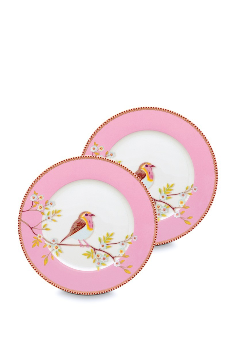 Color Relation Product Early Bird Set of 2 Breakfast Plates Pink 21 cm