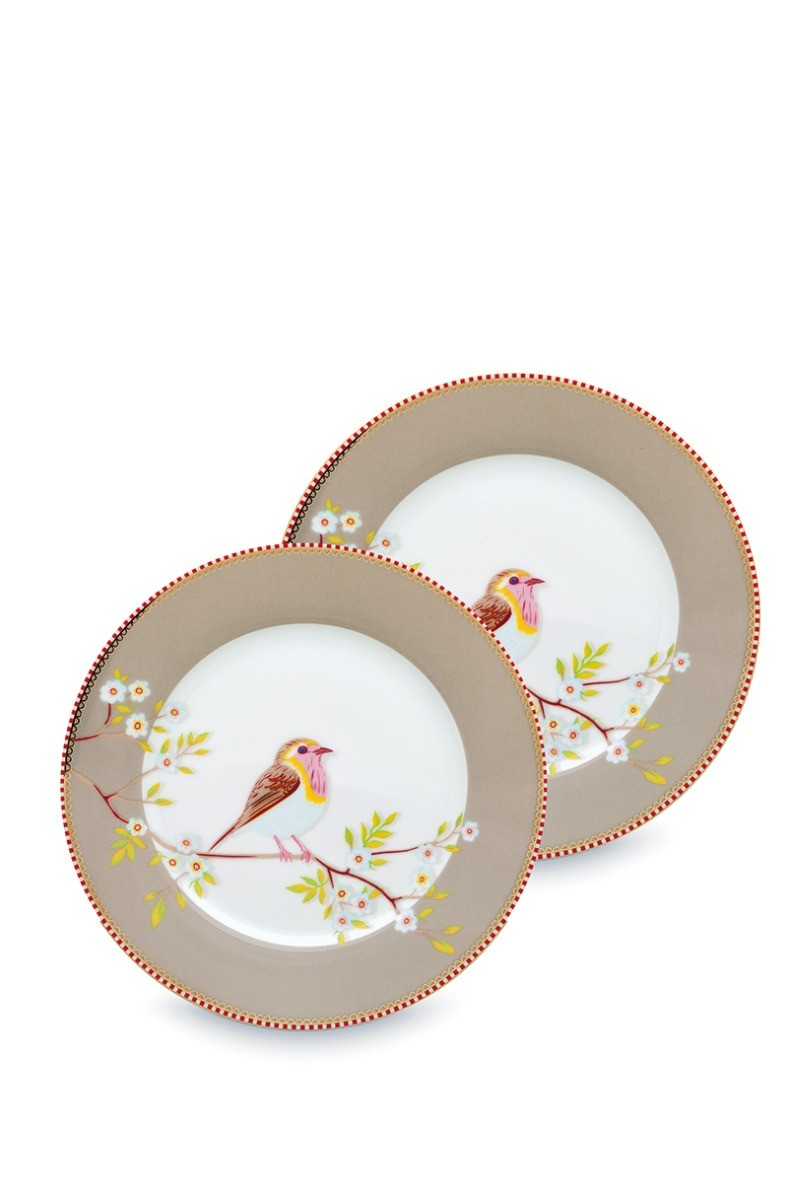 Color Relation Product Early Bird Set of 2 Breakfast Plates Khaki 21 cm
