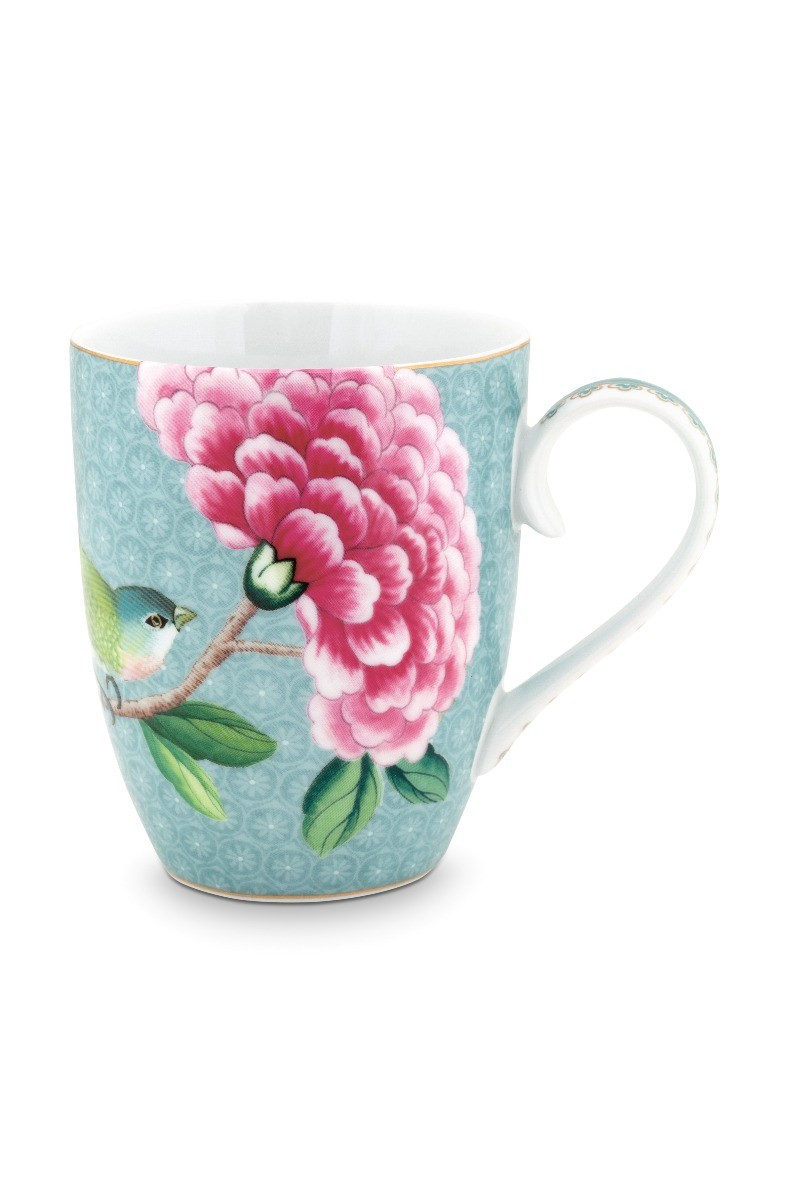 Color Relation Product Blushing Birds Mug large blue