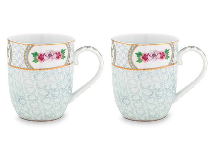 Color Relation Product Blushing Birds Set of 2 Mugs small white