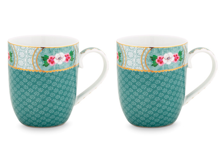 Color Relation Product Blushing Birds Set of 2 Mugs small blue