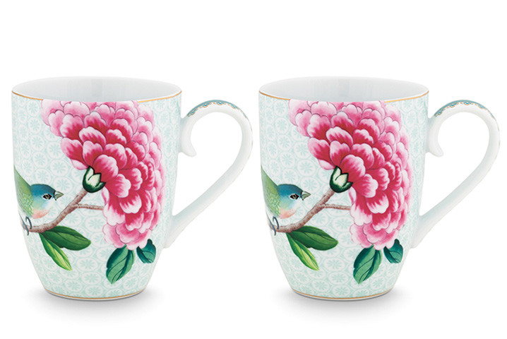 Color Relation Product Blushing Birds Set of 2 Mugs large white
