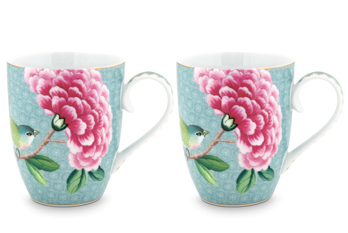 Color Relation Product Blushing Birds Set of 2 Mugs large blue