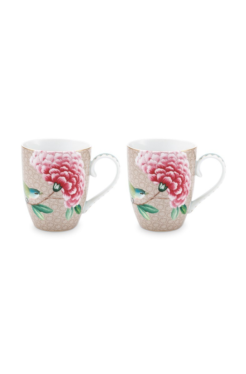 Color Relation Product Blushing Birds Set of 2 Mugs Large Khaki