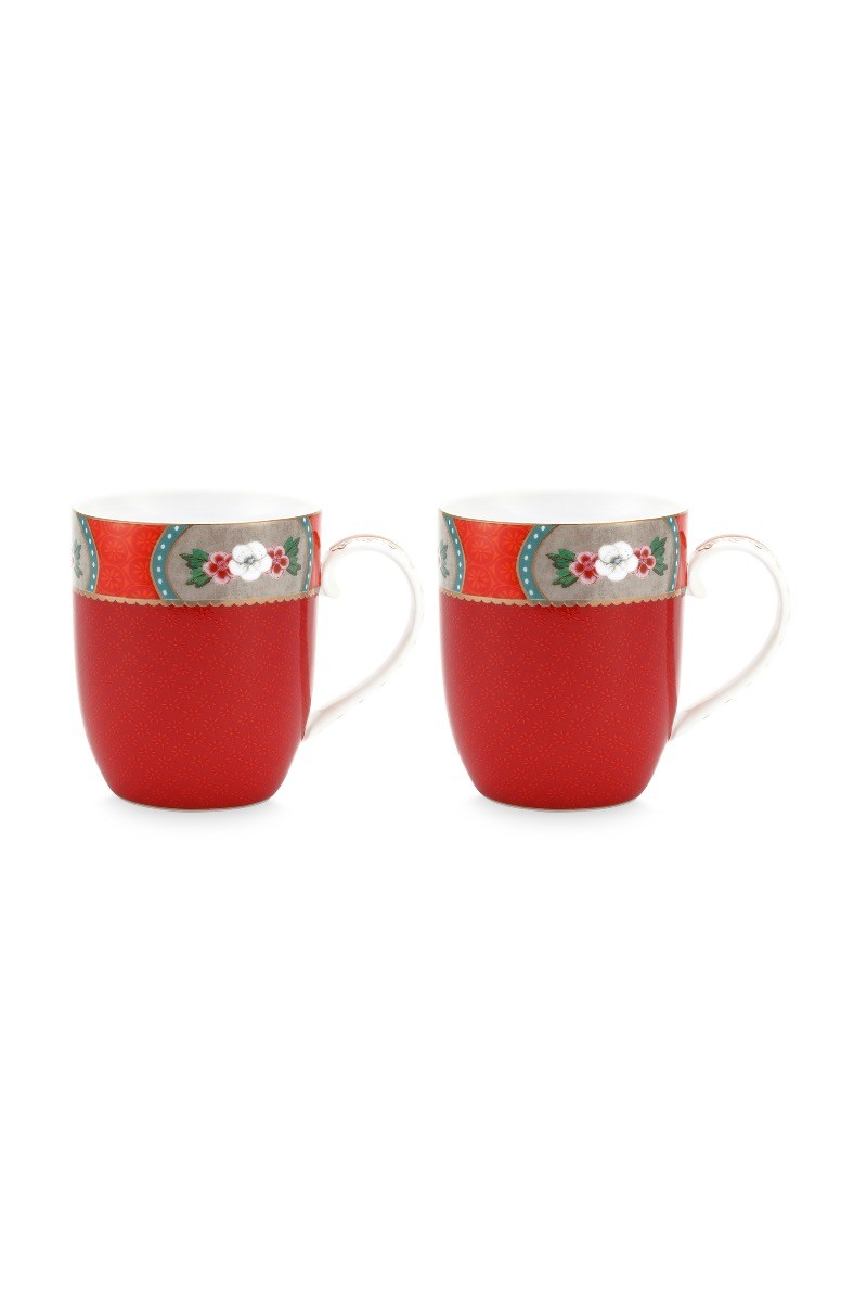 Color Relation Product Blushing Birds Set of 2 Mugs Small Red