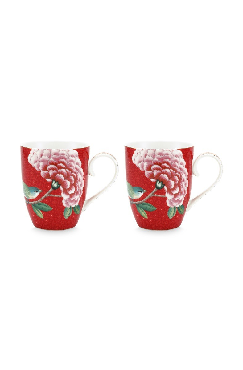 Color Relation Product Blushing Birds Set of 2 Mugs Large Red