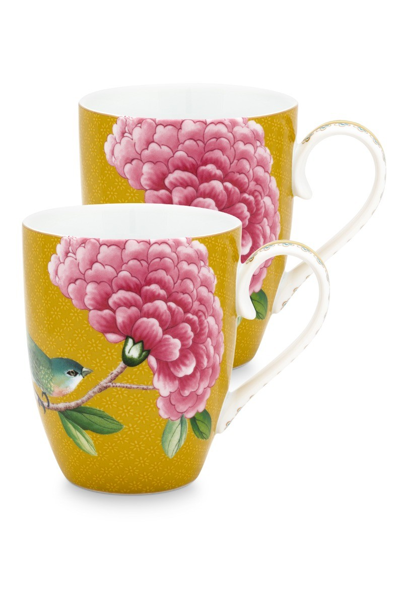 Color Relation Product Blushing Birds Set of 2 Mugs large Yellow