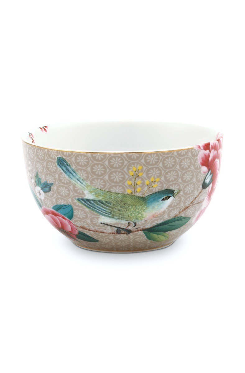 Color Relation Product Blushing Birds Bowl Khaki 12 cm