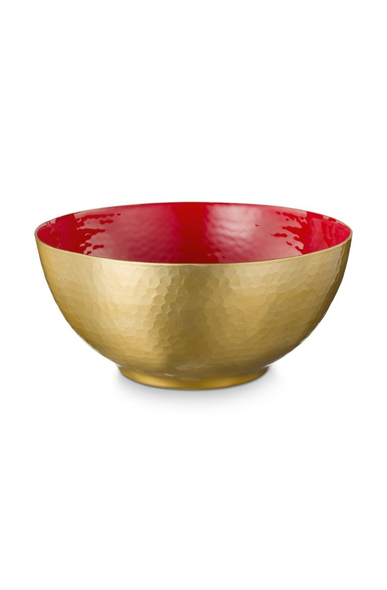 Color Relation Product Blushing Birds Enamelled Bowl Red 27 cm