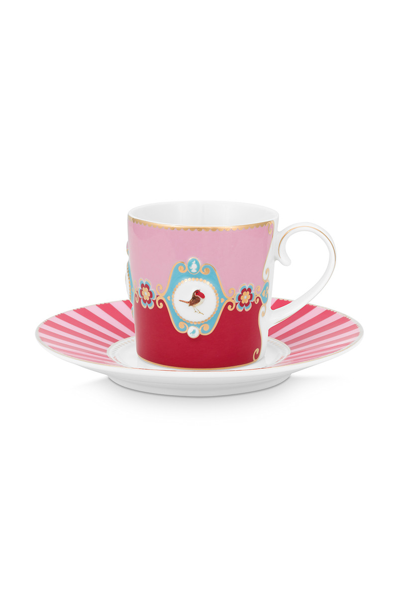 Color Relation Product Love Birds Cup & Saucer Red/Pink
