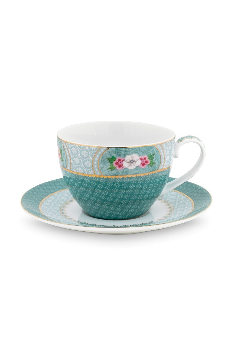 Color Relation Product Blushing Birds Cappuccino Cup & Saucer blue
