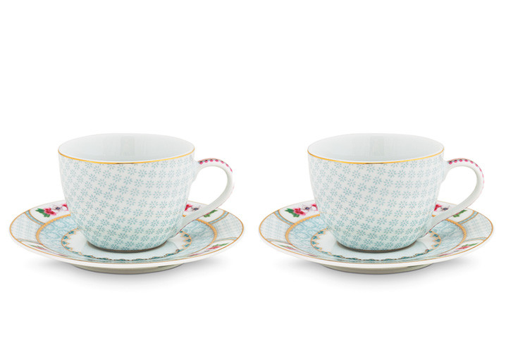 Color Relation Product Blushing Birds Set of 2 Espresso Cups & Saucers white