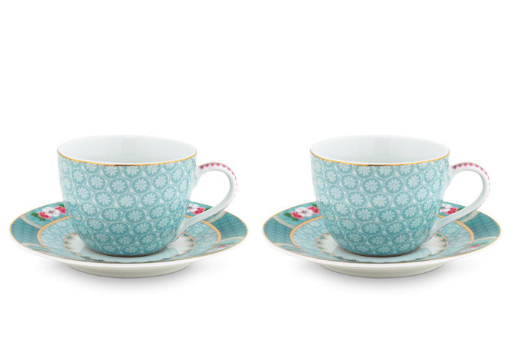 Color Relation Product Blushing Birds Set of 2 Espresso Cups & Saucers blue