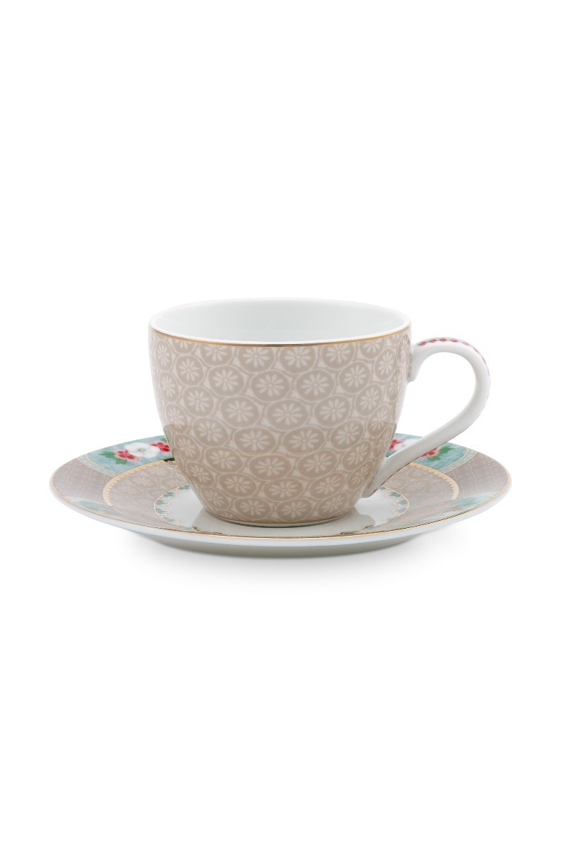 Color Relation Product Blushing Birds Espresso Cup & Saucer Khaki