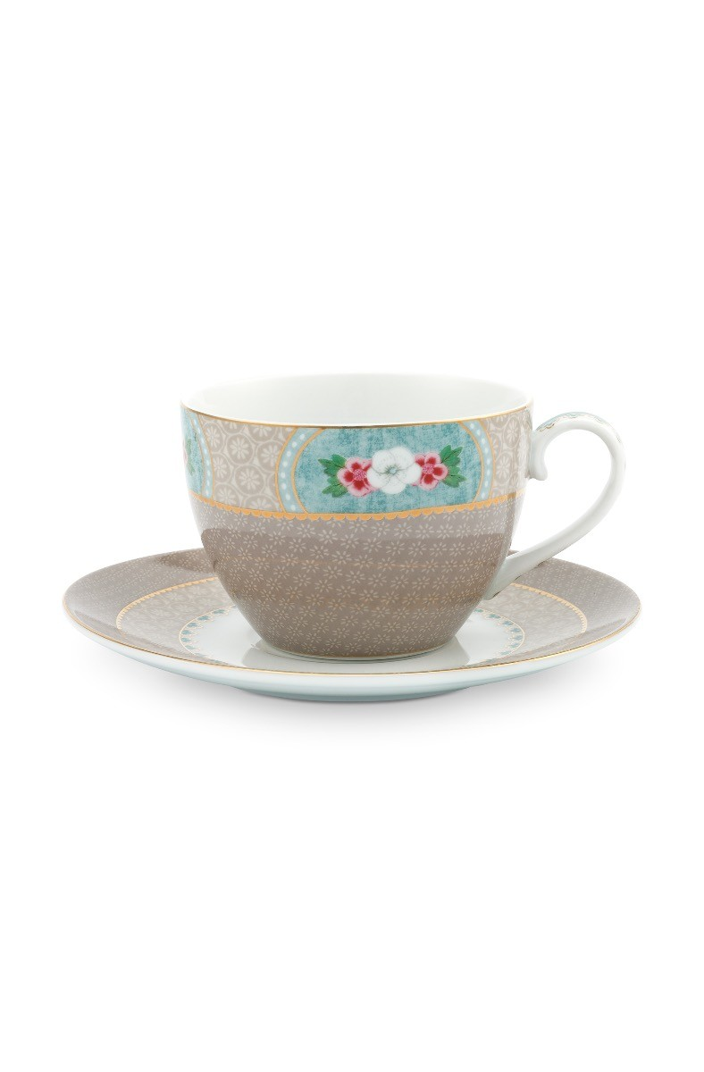 Color Relation Product Blushing Birds Cappuccino Cup & Saucer Khaki