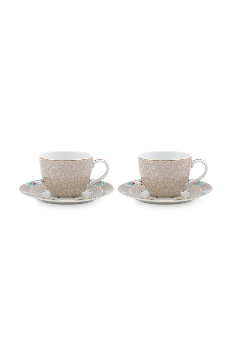 Color Relation Product Blushing Birds Set of 2 Espresso Cups & Saucers Khaki