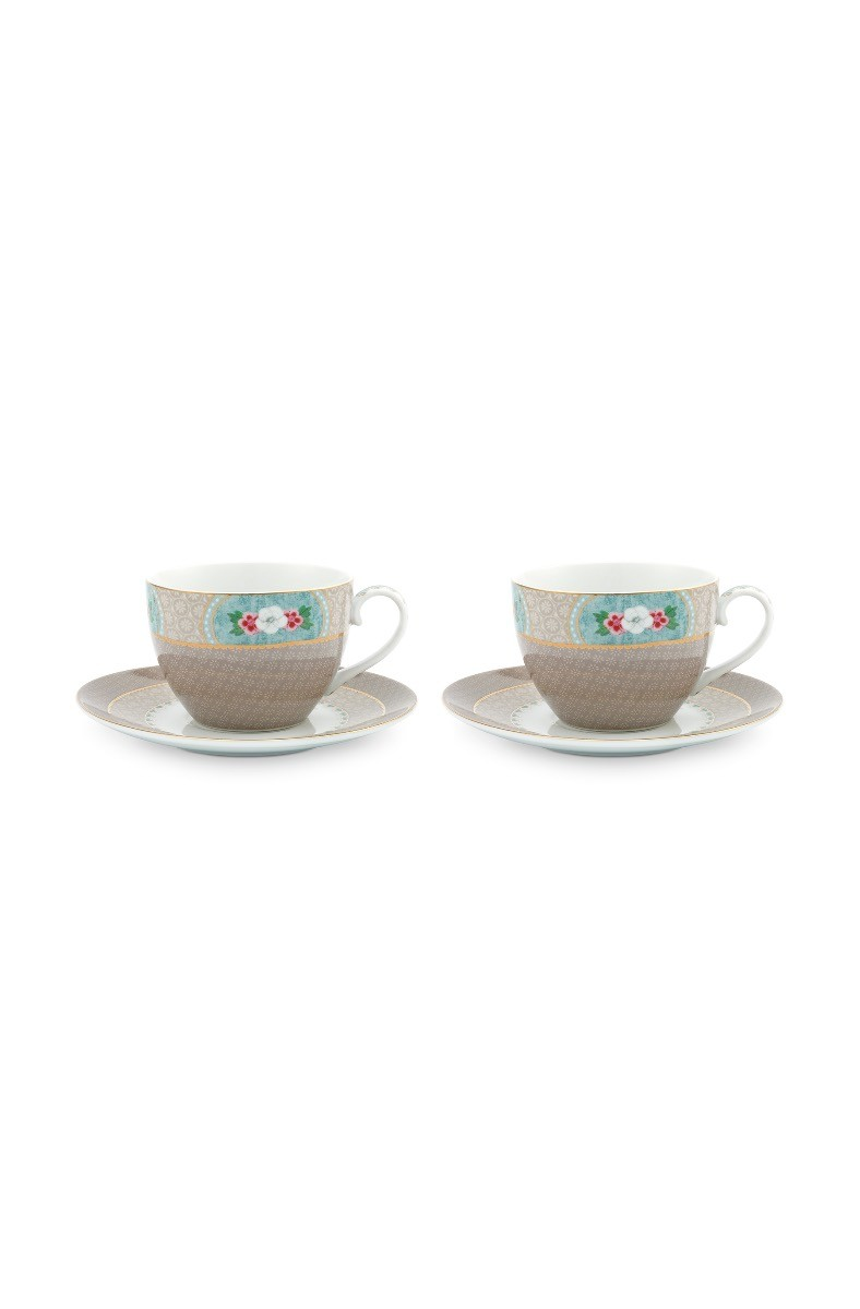 Color Relation Product Blushing Birds Set of 2 Cappuccino Cups & Saucers Khaki