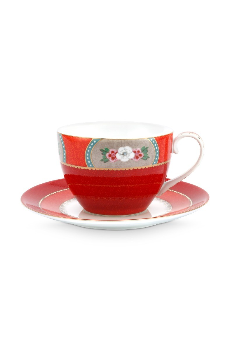 Color Relation Product Blushing Birds Cappuccino Cup & Saucer Red