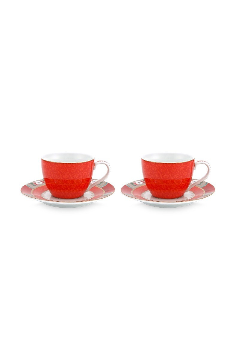 Color Relation Product Blushing Birds Set of 2 Espresso Cups & Saucers Red