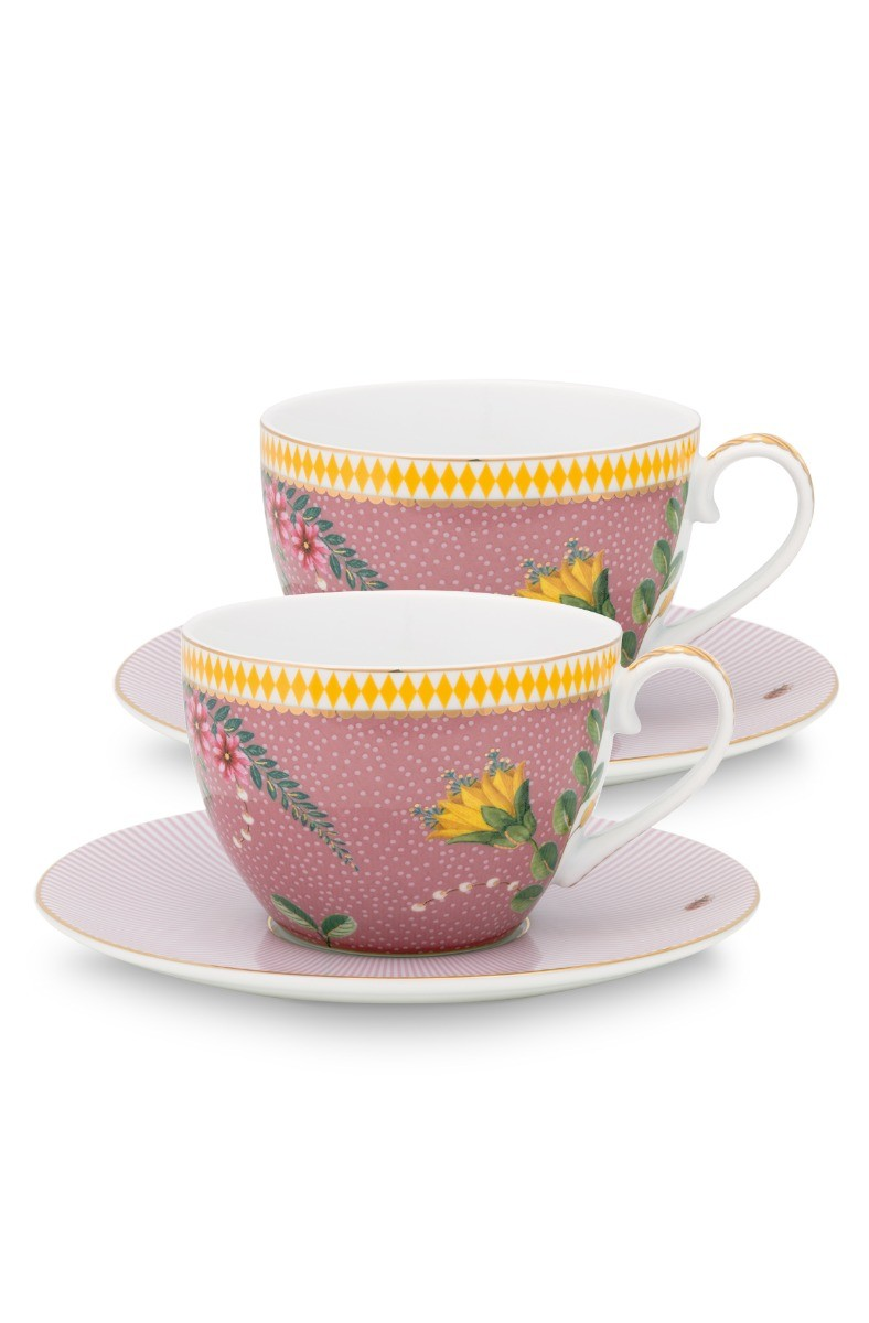 Color Relation Product La Majorelle Set of 2 Cups and Saucers Pink
