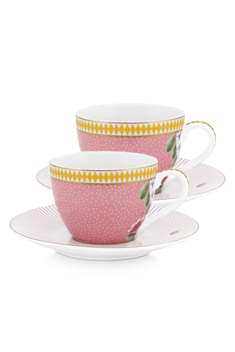 Color Relation Product La Majorelle Set/2 Espresso Cups & Saucers Pink