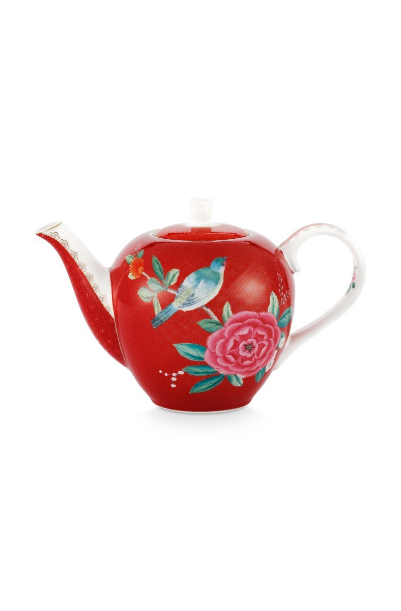 Color Relation Product Blushing Birds Theepot Klein Rood