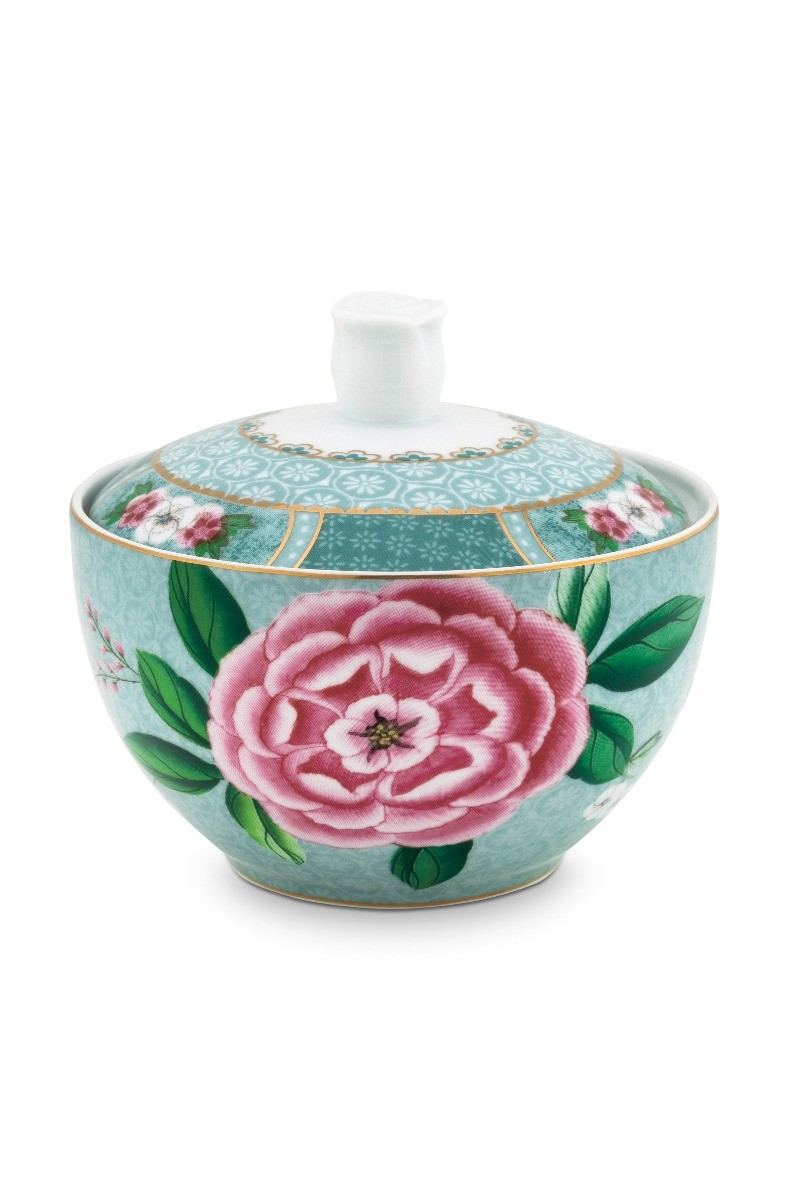 Color Relation Product Blushing Birds Sugar Bowl blue