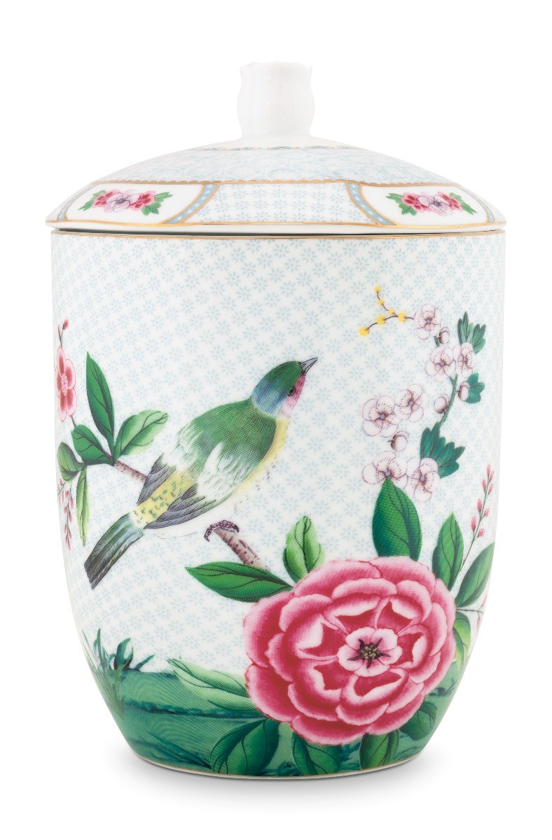 Color Relation Product Blushing Birds Storage Jar white