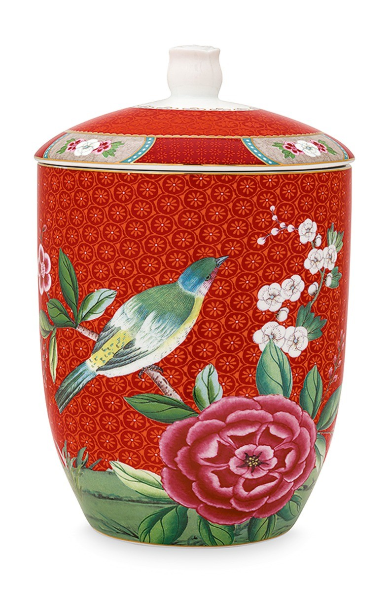 Color Relation Product Blushing Birds Storage Jar Red