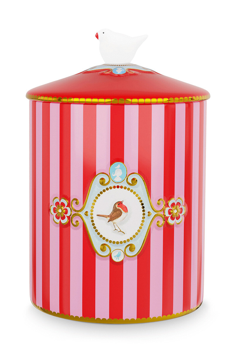 Color Relation Product Love Birds Storage Jar Red/Pink