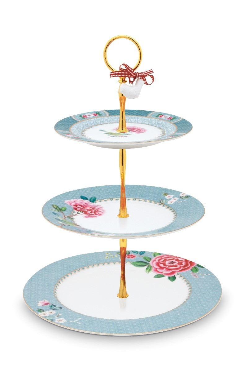 Color Relation Product Blushing Birds Cake Stand 3 Levels blue