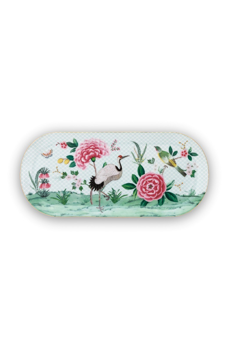 Color Relation Product Blushing Birds Rectangular Cake Platter white 34 cm