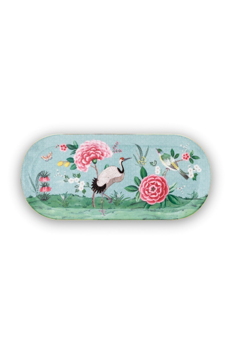 Color Relation Product Blushing Birds Rectangular Cake Platter blue 34 cm