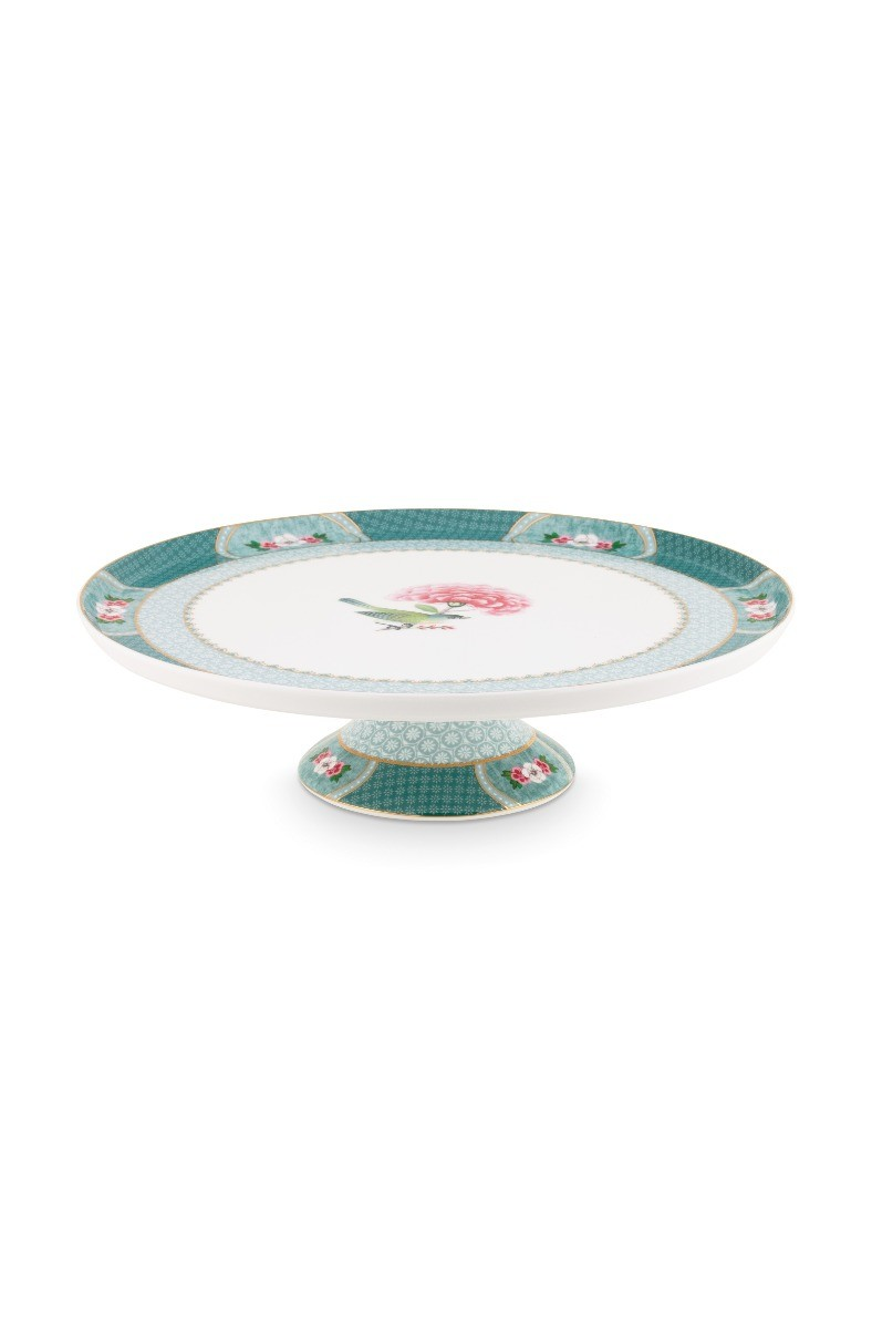Color Relation Product Blushing Birds Round Cake Platter blue