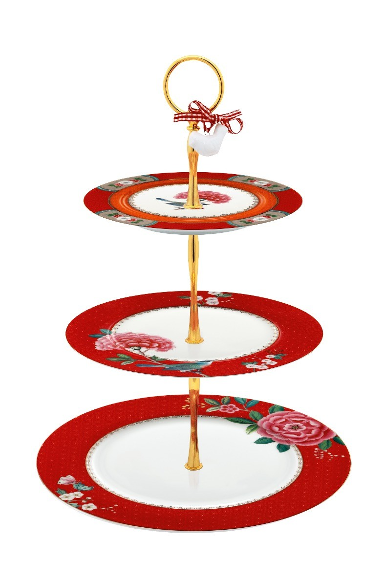 Color Relation Product Blushing Birds Cake Stand 3 Levels Red